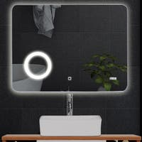 LED Touch Button Wall-Mounted Makeup Mirror w/ Clock