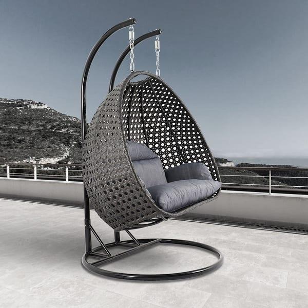 Leisuremod Indoor Outdoor Wicker 2 Person Hanging Swing Chair Overstock 28424662