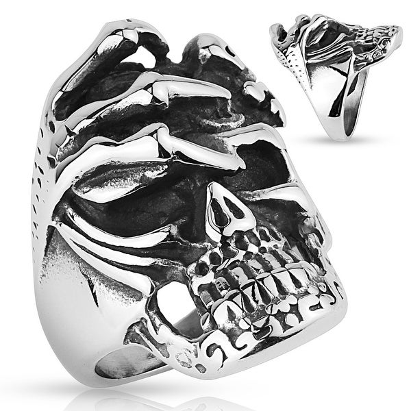 Skull with Skeleton Hand Stainless Steel Ring (Sold Ind.)