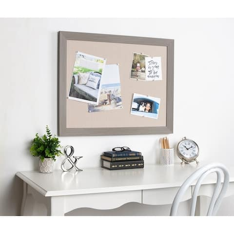 DesignOvation Beatrice Framed Linen Fabric Pinboard