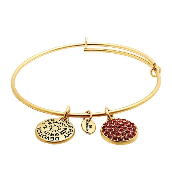 Chrysalis Expandable July Bangle Bracelet with Red Swarovski elements Crystals in 14K Gold-Plated Brass