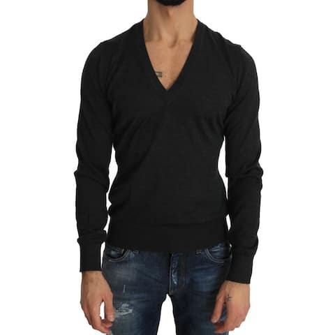 Dolce & Gabbana Gray Cashmere V-neck Pullover V-neck Men's Sweater