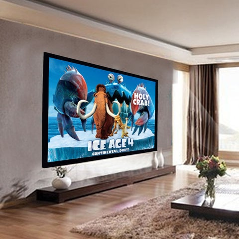 Costway 92'' Aluminum Fixed Frame 16:9 Projector Screen Velvet Matte White Home Theater
