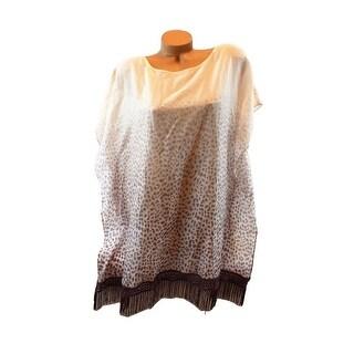 Victoria's Secret Cotton Silk Beach Cover-Up W Fringe Animal Print Taupe L - Large