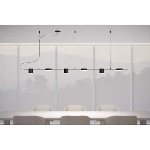 Sonneman Lighting Counterpoint 6-light Satin Black LED Linear Pendant, White Shade