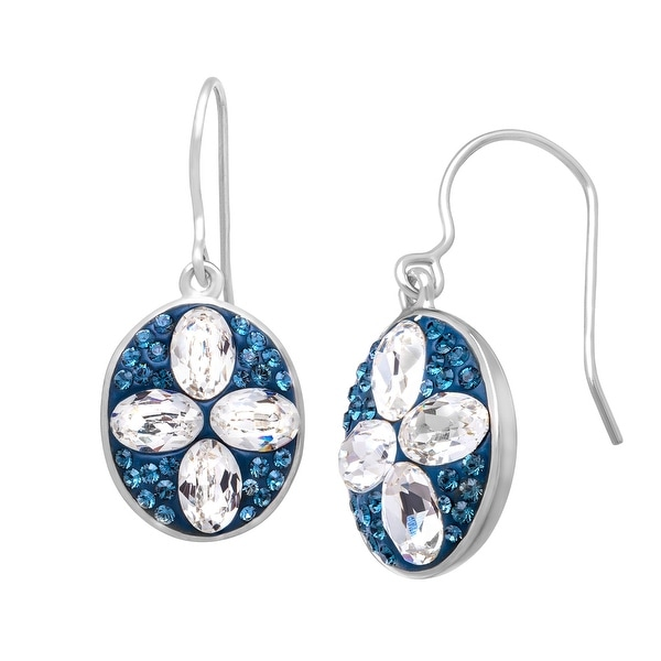 Crystaluxe Oval Drop Earrings with Teal & White Swarovski Elements Crystals in Sterling Silver