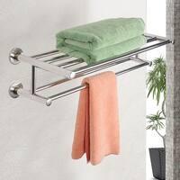 Costway Wall Mounted Towel Rack Bathroom Hotel Rail Holder Storage Shelf Stainless Steel - Sliver