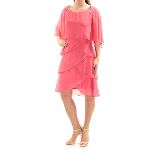 Womens Pink Dolman Sleeve Knee Length Layered Wear To Work Dress Size: 2
