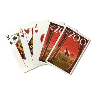Giraffe - Visit the Zoo- Lantern Press Artwork (Playing Card Deck - 52 Card Poker Size with Jokers)