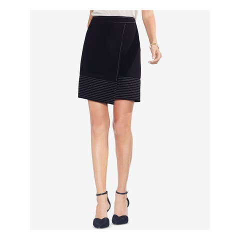 VINCE CAMUTO Womens Black Contrast Stitch Above The Knee Faux Wrap Skirt Size: 6