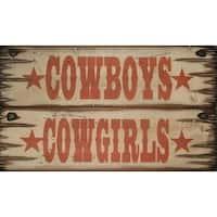 Cowboy Signs Wood Wall Hanging Cowboys Cowgirls 2 pc Set Brown - 5 x 16