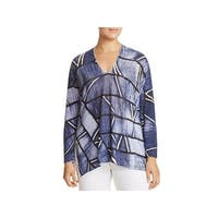 Nic + Zoe Womens Plus High Tide Pullover Top Printed V-Neck - 2X