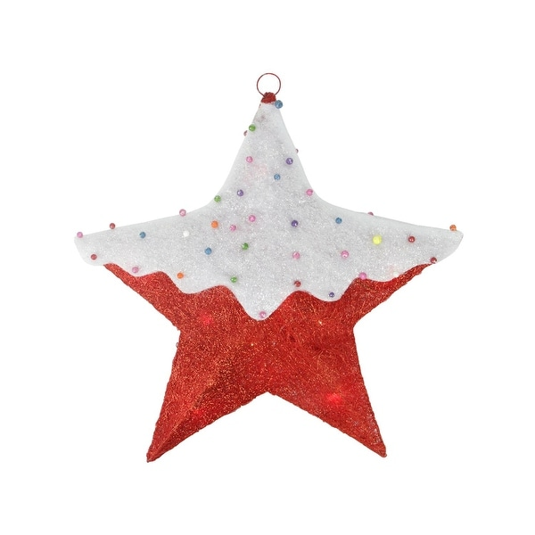"""18"""" Red Lighted Snowy Candy Covered Sisal Hanging Christmas Star Window Decoration"""