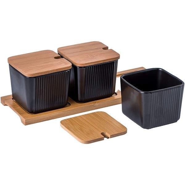 S//3 Copper /& Black Tea Coffee Sugar Kitchen Storage Canister Container Jar Tins