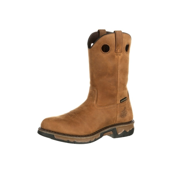 Georgia Boot Work Mens Carbo Tec Waterproof Wellington Brown