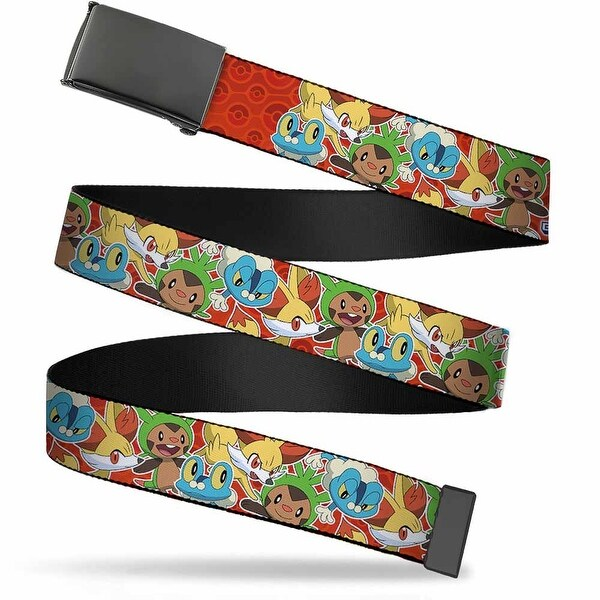 Blank Black Buckle Pokemon Kalos Starters Stacked Poke Balls Reds Web Belt