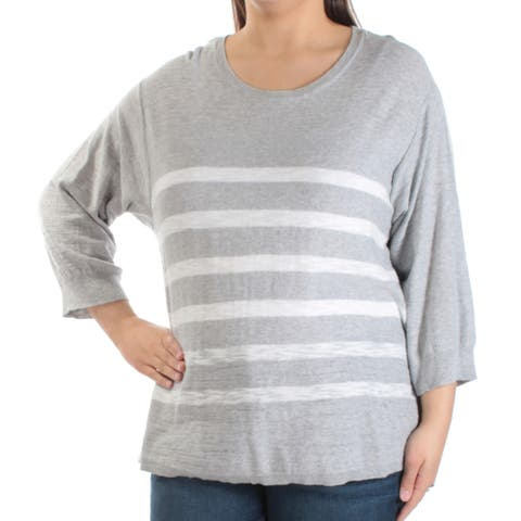 VINCE CAMUTO Womens Gray Striped 3/4 Sleeve Jewel Neck Top Size XL