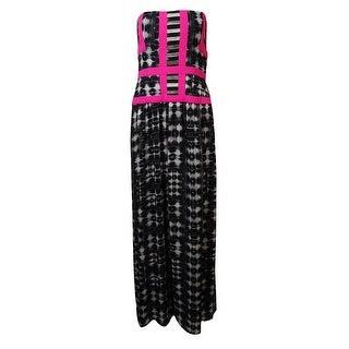 "BCBGMAXAZRIA Women's ""Gracelyn"" Strapless Chiffon Dress - Black/White - 8"