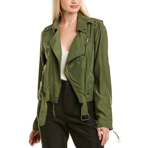 Nicole Miller Washed Habotai Kalysie Silk Moto Jacket