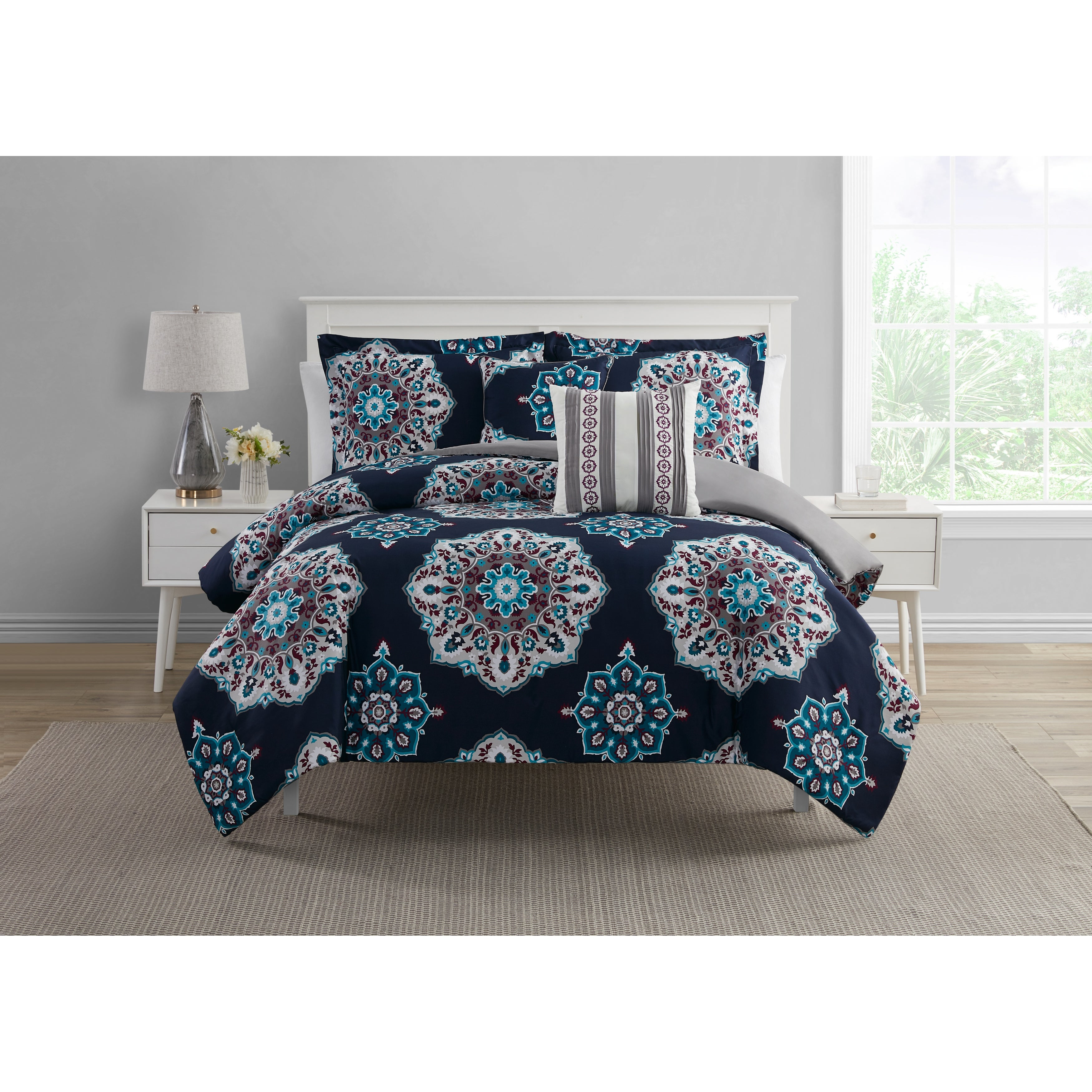 Sosa Navy Plum Teal Gray Medallion 5 Piece Comforter Set On Sale Overstock 31798434 Teal White Grey Full Queen