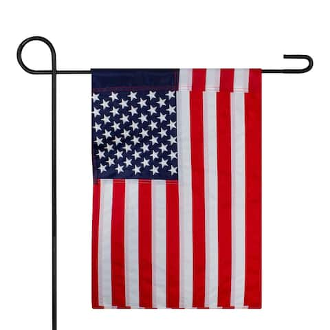 """Red and Blue Embroidered American Outdoor Garden Flag 12.5"""" x 18"""""""