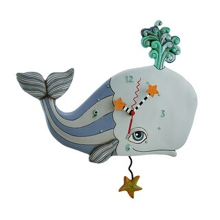 Spouting Off Blue / Gray Whale Pendulum Clock