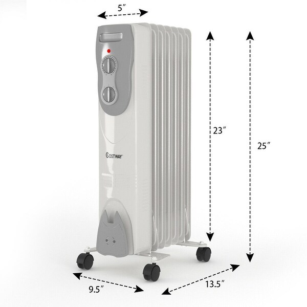1500W Portable Oil-Filled Radiator Heater w/Adjustable Thermostat