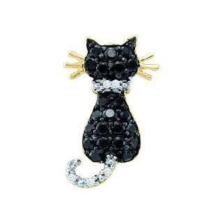 Cat Pendant 10k Yellow Gold With Black and White Diamonds 0.33Ctw By MidwestJewellery