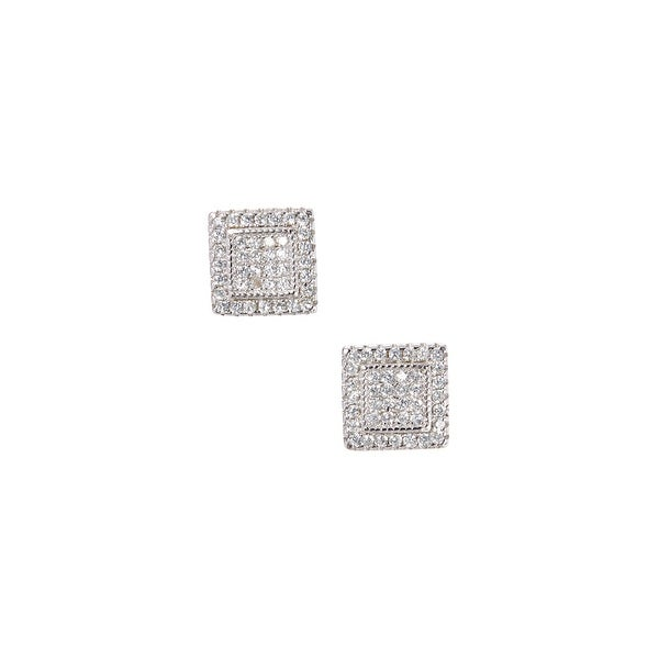 925 Sterling Silver Double Square Stud Earrings with Cubic Zirconia