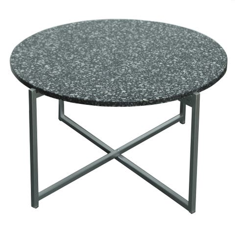 "Maeve 18.5"" Terrazzo Accent Table in Black - 34""Rnd x 18""H"