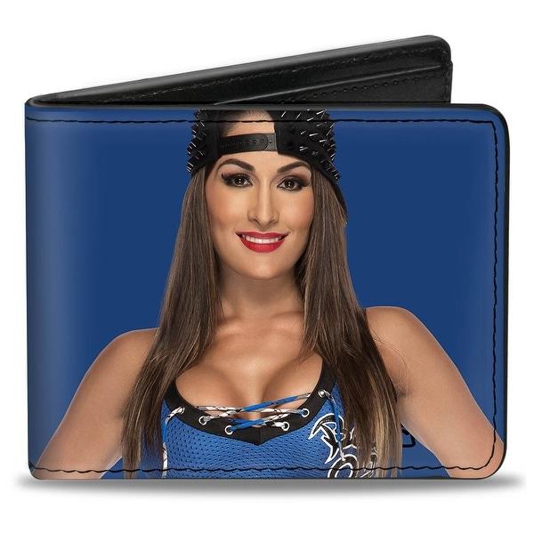 Nikki Bella Vivid Pose + Stay Fearless Badge Blue Black White Bi Fold Wallet - One Size Fits most