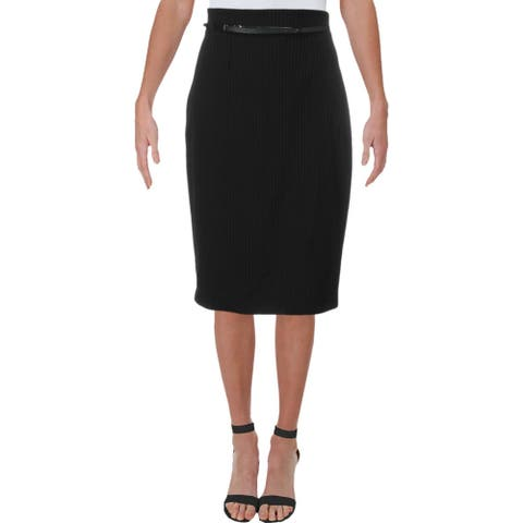 Amanda + Chelsea Womens Pencil Skirt Pinstripe Business - Black/White
