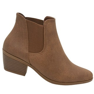 Adult Tan Side Elasticated Insert Casual Trendy Ankle Boots