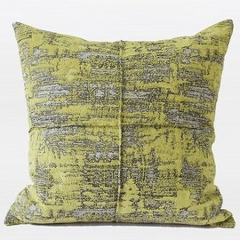"G Home Collection Luxury Lemon Yellow Mix Color Metallic Chenille Pillow 22""X22"""