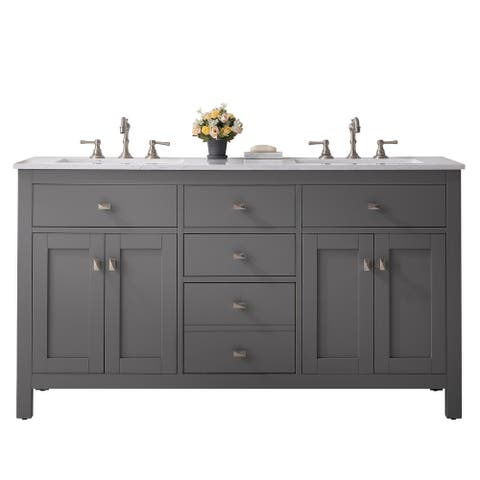 """Totti Artemis 60"""" Gray Transitional Double Sink Bathroom Vanity w White Carrara Style Man-Made Stone Top"""