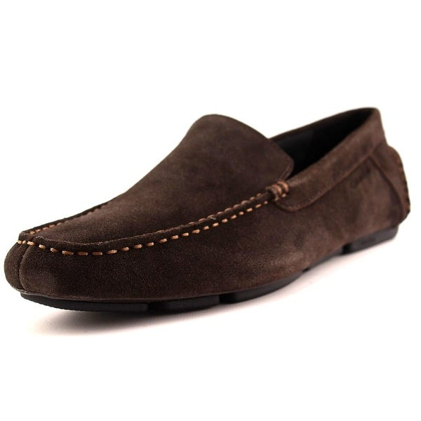 Calvin Klein Menton Men Moc Toe Suede Brown Loafer