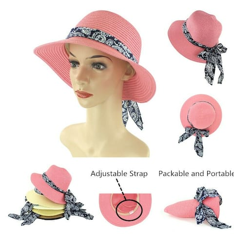 0ed59afb Women Straw Hats Sun Hats Summer Hats Packable Floppy with Bow