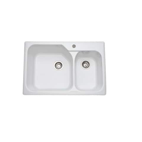 Allia Fireclay Kitchen Sink 1 and a Half Bowl in White - 33 x 22