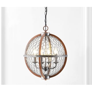 """Link to Gaines 16"""" 4-Light Adjustable Iron Rustic Industrial LED Pendant, Brown/Silver by JONATHAN  Y Similar Items in Pendant Lights"""