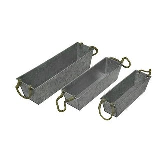Set of 3 Galvanized Metal Rectangular Planters w/Jute Handles