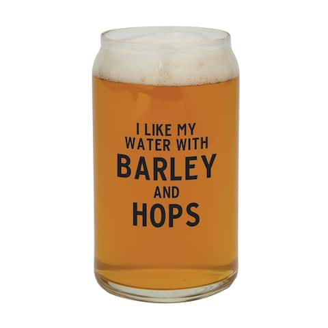 """10"""" Clear Beer Glass with Barley and Hops Design Print"""