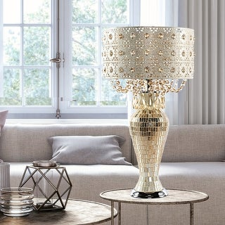 """Link to River of Goods Solvang Jeweled Metal/Mosaic Base Cascading Crystal Table Lamp - 14""""L x 14""""W x 25""""H Similar Items in Table Lamps"""