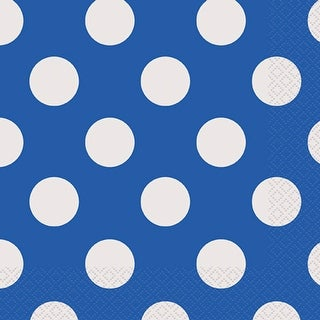 "Luncheon Napkins 6.5""X6.5"" 16/Pkg-Royal Blue Decorative Dots"