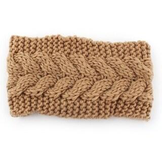 Woman Nylon Twist knitted Head Wrap Hair Band Sports Ski Headband Camel Color
