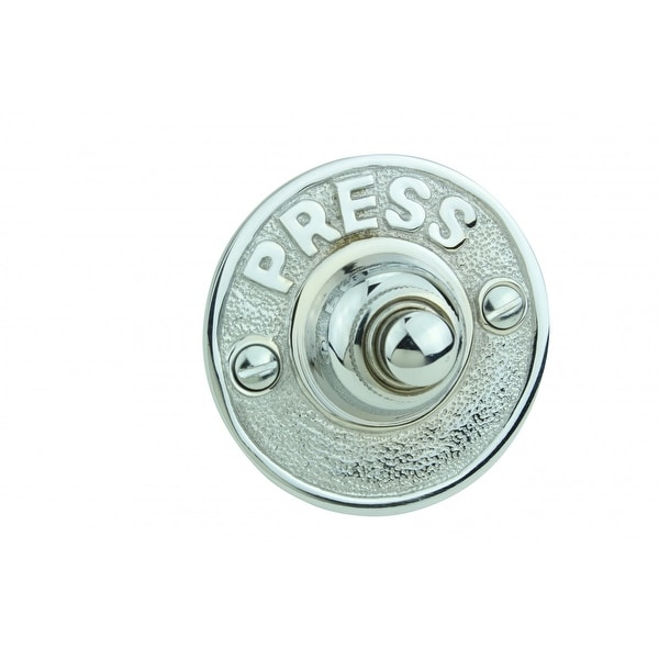 Doorbell Button Chrome Over Brass Embossed PRESS Round