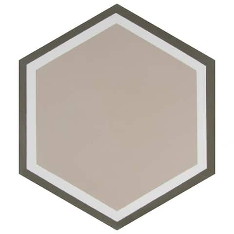 SomerTile 7.875x9-inch Cement Hex Holland Channel Cement Floor and Wall Tile (12 tiles/5.07 sqft.)
