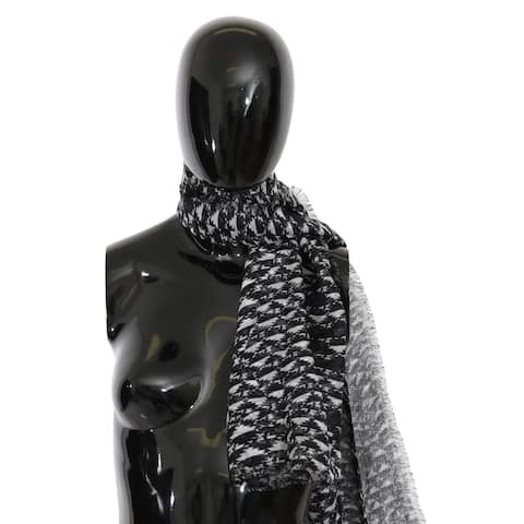 Costume National Black White Neck Wrap Silk Women's Scarf - one-size
