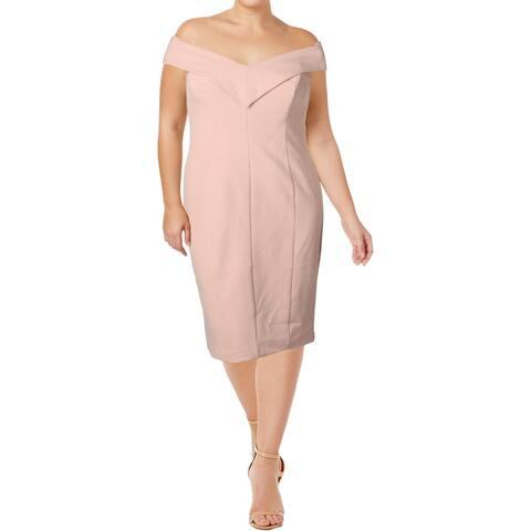 Eliza J Womens Cocktail Dress Off-The-Shoulder Knee-Length