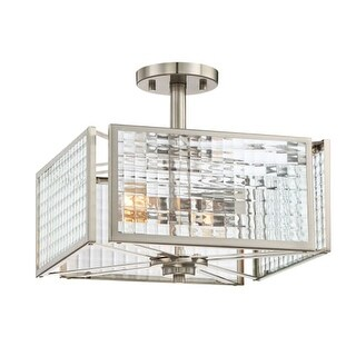 "Designers Fountain 88811-SP Pivot 2 Light 13"" Wide Ceiling Fixture Clear Lattice Glass"