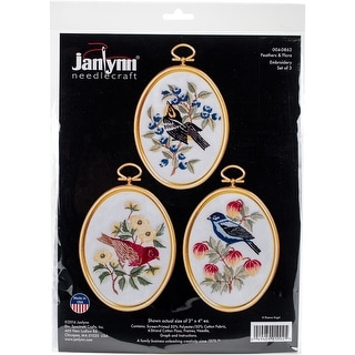 """Feathers And Flora Embroidery Kit Set Of 3-3""""X4"""" Stitched In Floss"""